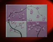 Large Orchid Painting Huge Silver and Purple Lilac Delicate Elegant Original Art Four Stretched Canvases 40x32 Custom