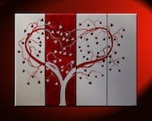 Red Heart Love Tree Painting Red and White Modern Abstract Art Large 48x36 Wedding Anniversary Gift CUSTOM