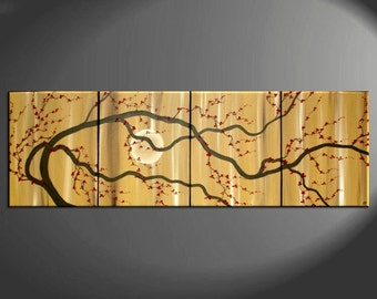 Large Zen Plum Blossom Painting Soft Caramel Neutral Colors Japanese Asian Zen Original Art Custom 64x20