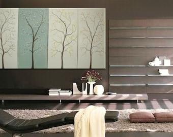 Spa Painting Cream White and Soft Green Art Cherry Blossom Flowering Trees Lemongrass Urban Original Art Custom 60x30