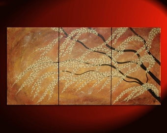 Large Painting Burnt Orange Modern Huge Art Cherry Blossom Tree Art Fresh Zen Asian Style Calming and Peaceful Wall Art Custom 72x36