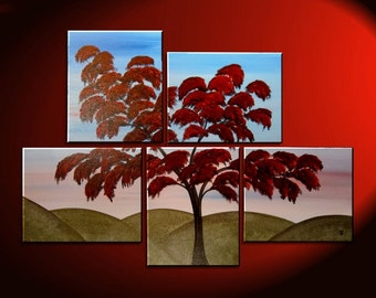 Large Tree Painting Wall Art Red Green Hills Blue Sky Modern Abstact Art Multiple Canvases Ready to Ship 56x40