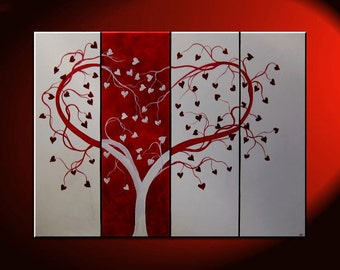Red Heart Painting Love Tree Art Red and White Modern Abstract Art Large 48x36 Wedding Anniversary Gift CUSTOM