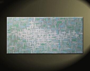 Grey Blue Green Abstract Painting Textured Knife Art Large Original Modern Impasto Calm Contemporary Uplifting Art 48x24 CUSTOM