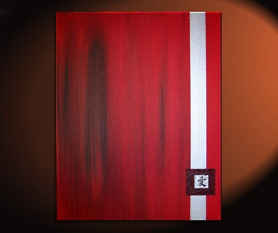 Red Love Kanji Painting Contemporary Chinese Character Asian Zen Original Art Silver Burgundy Modern Simple Clean Lines Custom 24x36