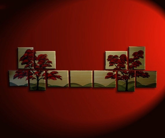 132x40 LARGE CUSTOM Enormous Modern Abstract Tree Painting Original HUGE Art Red Gold Chinese Style Asian Zen Decor 11 Feet Wide