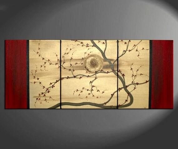 Original Zen Japanese Style Plum Blossom Painting Vibrant Modern Abstract Sunset Art Gold and Red Flowers Custom 48x20
