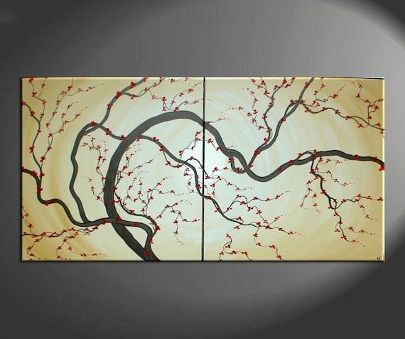 Huge Japanese Painting Plum Blossom Soft Golden Caramel Hues Red Flowers Large Modern Art Made to Order Custom 60x30