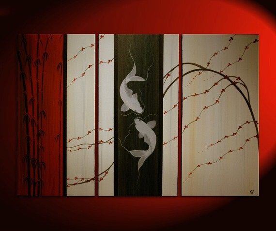 Large Koi Fish Painting Deep Rich Red Cream and Black Chinese Zen Style Original Art Bamboo Cherry Blossoms Custom 45x30