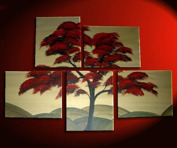 Large Tree Painting Red Gold Huge Art Custom Modern Abstract