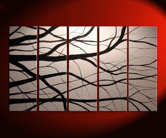 60x36 CUSTOM Elegant Tree Branches Painting Modern Abstract HUGE Original Art Large Monochrome Black and White