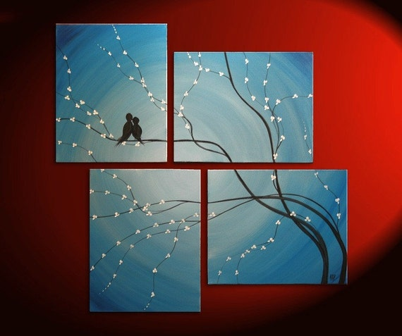 Original Painting Love Bird Modern Abstract Wall Art Blue Cherry Tree Branch Blossoms Multiple Canvases Large Custom Personalized 47x41