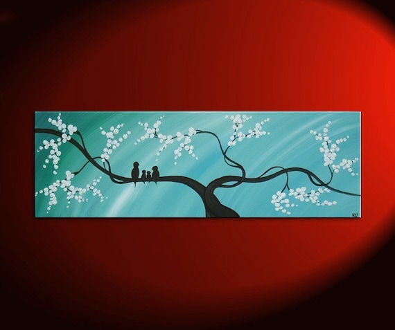Bird Family Painting Original Modern Textured Tree Blossom Art Blue Sky on Stretched Canvas Custom Personalized 36x12