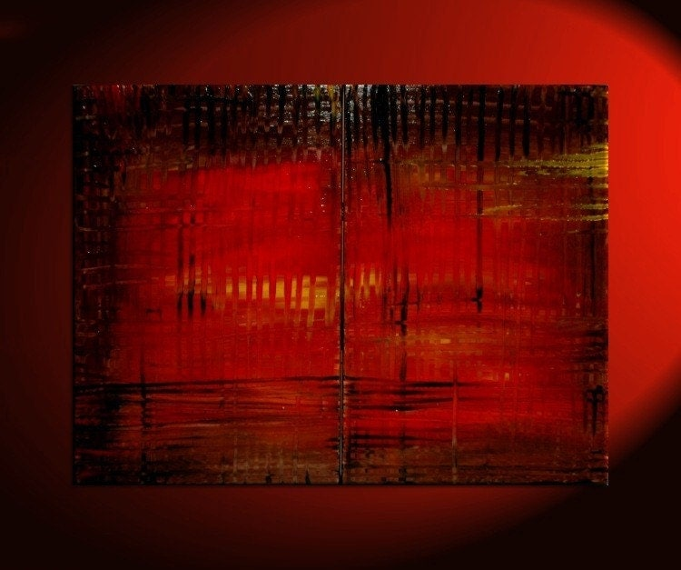 Large red abstract painting bold modern original textured huge for Dark red paintings