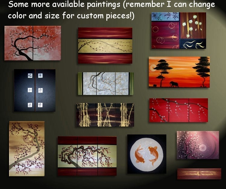 3 Piece Purple Cherry Blossom Muti Panel Abstract Modern: Red Fall Autumn Tree Painting Abstract Art Over By NathalieVan