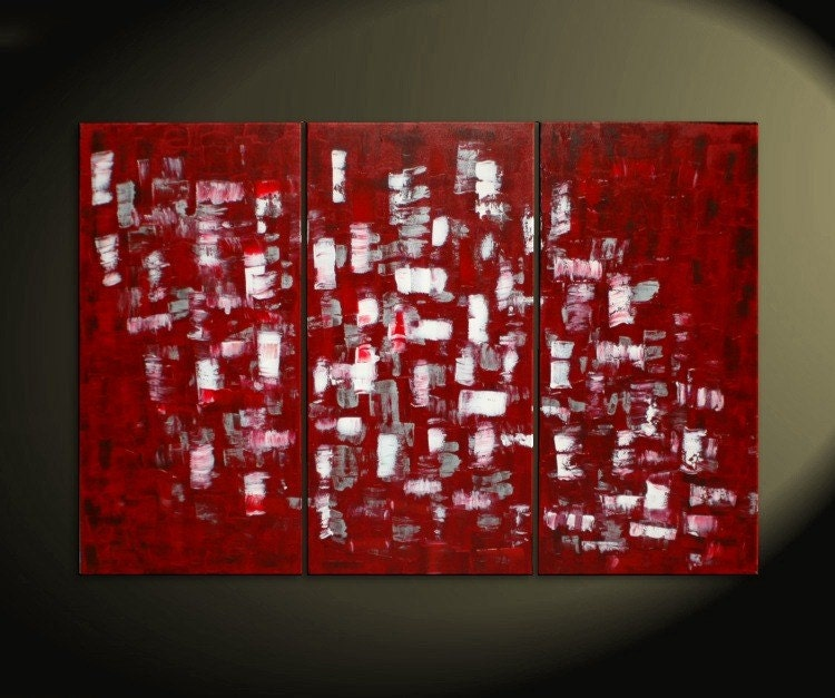 Wall Art Red large red and white abstract art textured painting palette