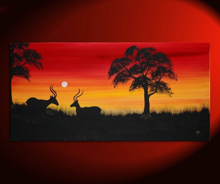 beautiful african sunset paintings easy