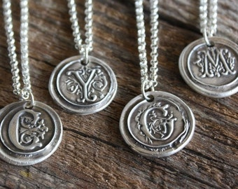 Vintage Inspired Initial Pendant - Fine Silver Wax Seal Style Necklace with Sterling Silver Rolo Chain
