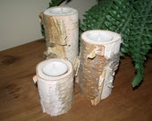 River Birch bark log Candle holders 3 tea lights set