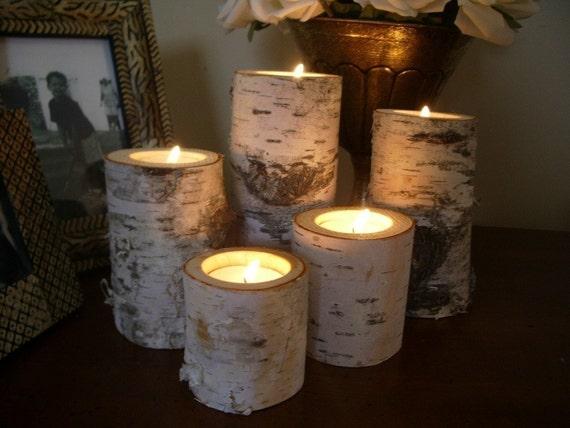 Birch bark log Candle holders  tea lights set of 5