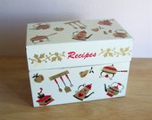 Recipe Holder Kitchen Tin Retro Box Red Gold Black