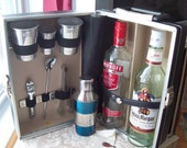 Travel Bar Portable w Key, Cocktail Shaker, Tools Vintage