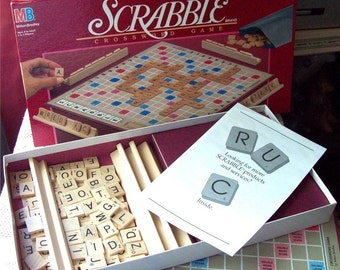 Scrabble Board Game Wood Pendant Tiles, unopened 1980s vintage game complete with wood holders, tiles for Pendant Crafts, jewelry making