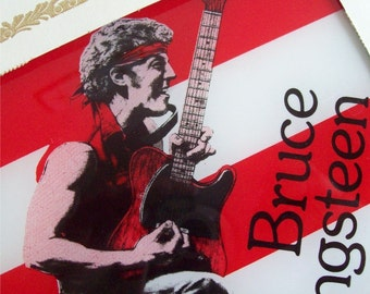 Picture Tile Bruce Springsteen Glass Rock n' Rollin Red Wall Hanging Picture