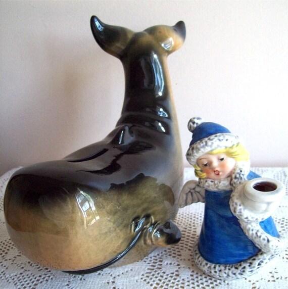 Goebel Whale Bank and Angel Girl Figurine Candle Holder
