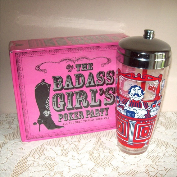 Glass Cocktail Shaker Gay Nineties and Unopened Girl's Poker Party Game