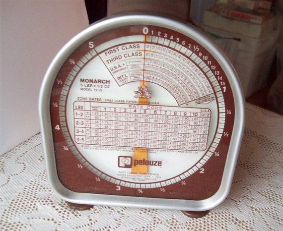 Working Weigh Scale 1970s Postal 5 pounds Pelouze Vintage Brown Metal Office
