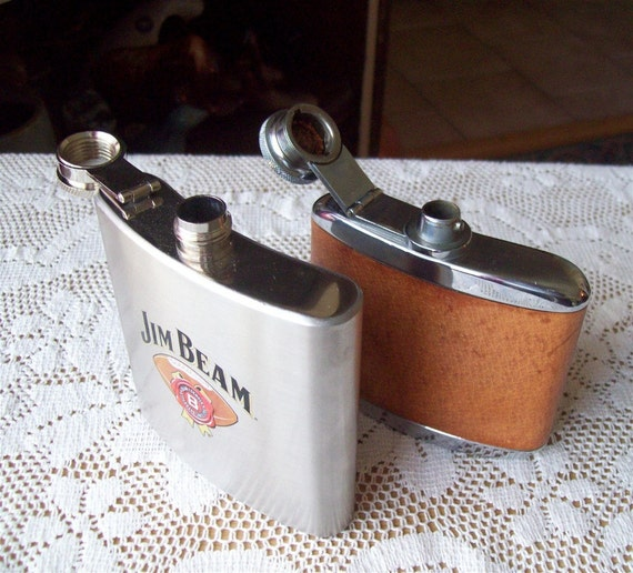 Hip Flasks Stainless Steel w brown leather sports