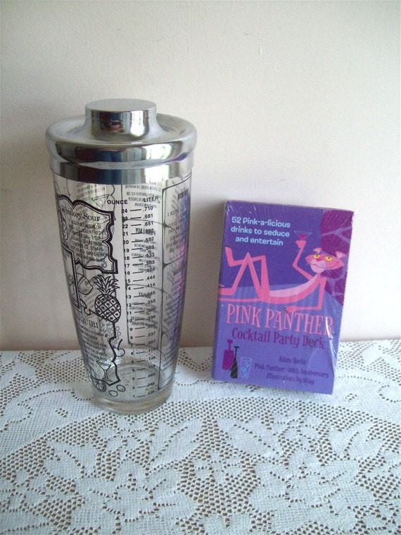 Vintage Irvinware Glass Cocktail Shaker and Pink Panther Drink Recipe Cards