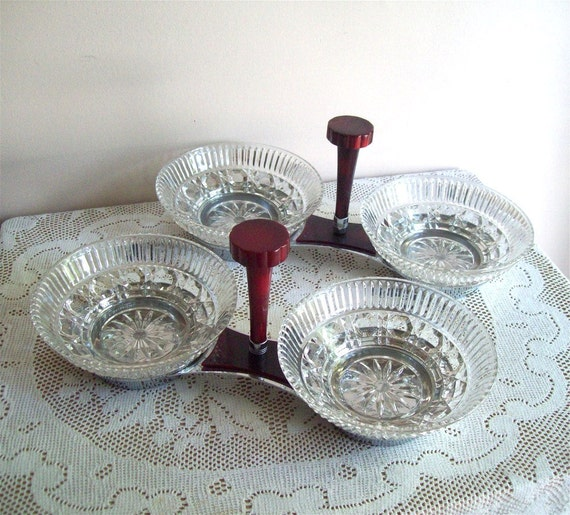 RESERVED Art Deco Glo Hill Chrome Bakelite Vintage Dining Barware Glo Hill Appetizer Dishes