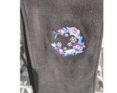 Black Fleece Scarf with Embroidered Lenten Rose