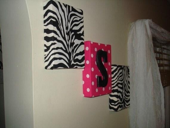 zebra fabric wall hangings wall decor monogram pink by