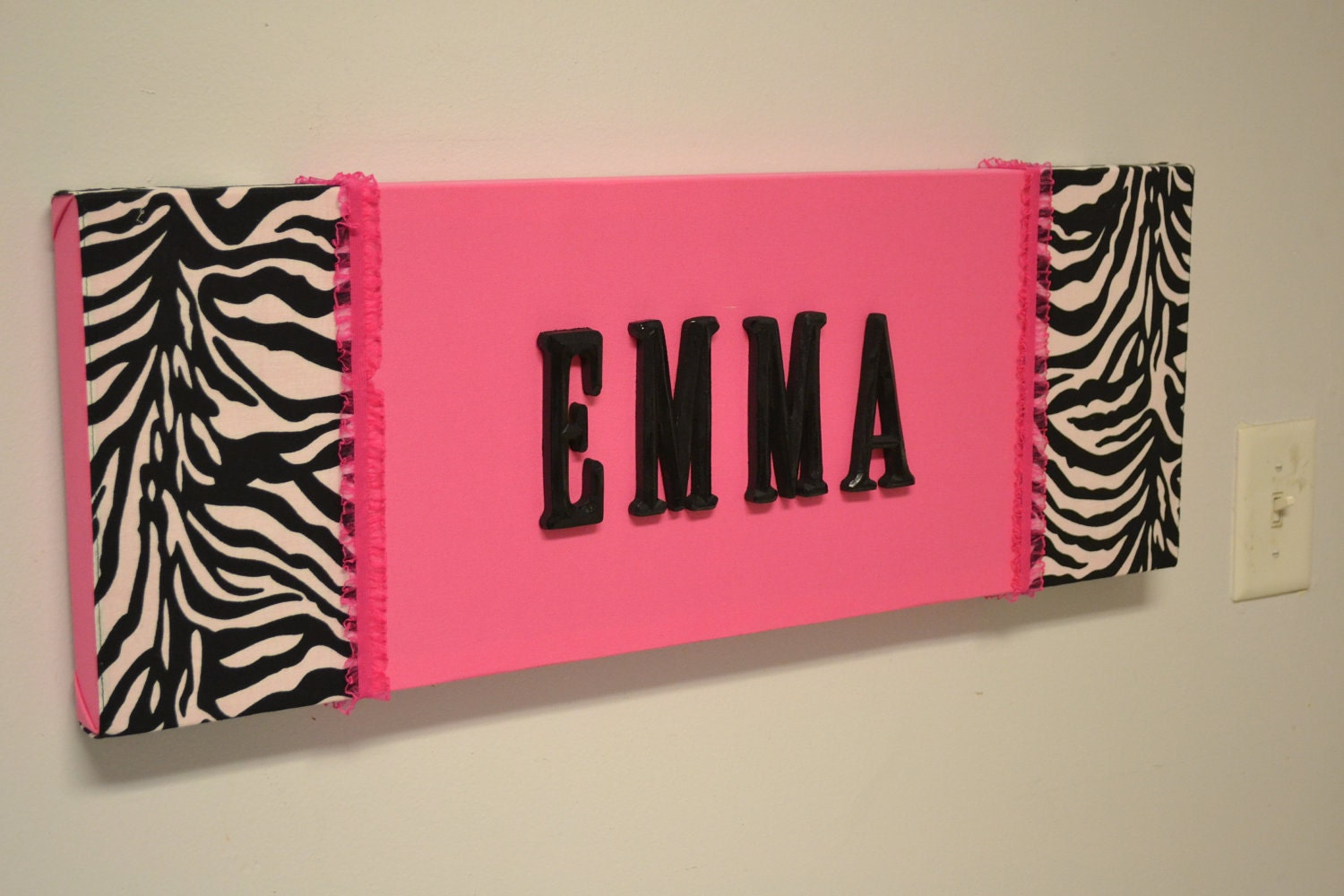 Zebra Hot Pink Fabric Wall Hanging Decor Custom By Madmosaics