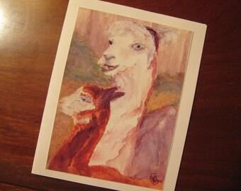 Alpaca Greetin Card 'PAPER DOLL'