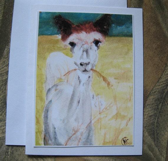 ALPACA CARD 'Miss Cardigan' watercolor print, my farm animal