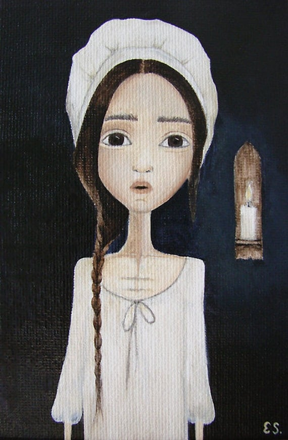 """Original Painting """"Girl by Candlelight"""" by Evelyn Santiago"""