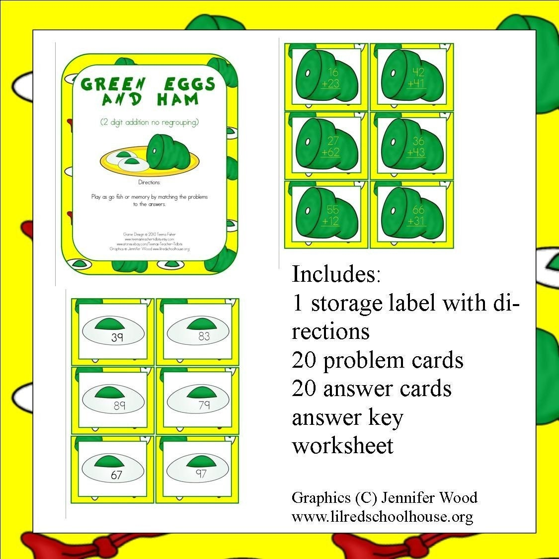 Math Center GREEN EGGS AND HAM Teacher by TeenasTeacherTidbits