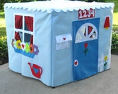 Card Table Playhouse, Light Blue Kids Tent, Personalized, Custom Order