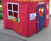 Redesigned Colorful Cottage Card Table Playhouse, Personalized, Custom Order
