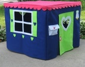 Card Table Playhouse Custom Order, Bright and Blue Basic Bungalow Card Table Playhouse