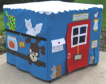 Pet Shop Felt Fabric Card Table Playhouse, Personalized, Custom Order