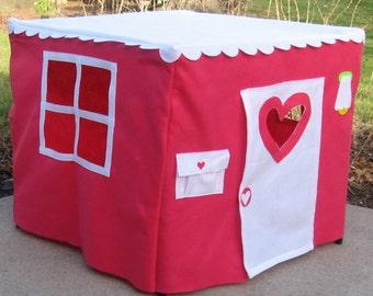 Pink Card Table Playhouse, Indoor Playhouse, Tablecloth Playhouse, Felt Playhouse, Fabric Playhouse, Kids Tent, Play Teepee,  Custom Order