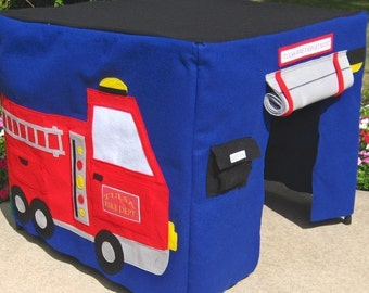 Fire Station Card Table Playhouse, Childrens Tent, Play Tent, Kids Teepee, Fabric Playhouse, Indoor Playhouse, Personalized, Custom Order
