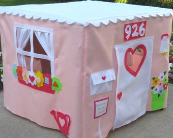 Pink Tablecloth Playhouse, Card Table Playhouse, Kids Tent, Play Teepee, Childrens Teepee, Play Tent, Custom Order, Personalized