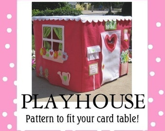 Sewing Pattern Card Table Playhouse Pattern, Deluxe Edition, eBook Instant Download, 40 pages, As Seen on The Today Show