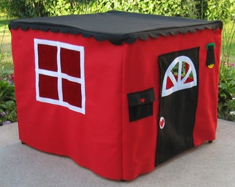 Red Basic Bungalow, Play Tent, Card Table Playhouse, Custom Order